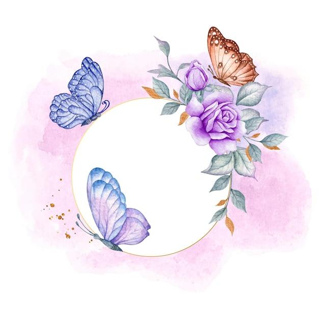 Szczęśliwych Walentynek Karta Kwiatowy Z Kolorowymi Motylami Premium Wektorów