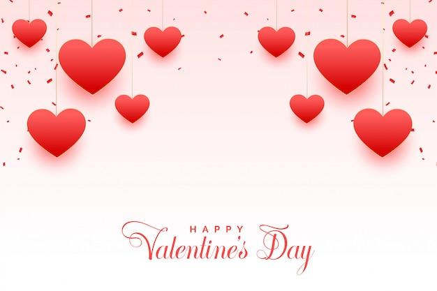Szczęśliwych Walentynek Kartkę Z życzeniami Piękne Serca Darmowych Wektorów