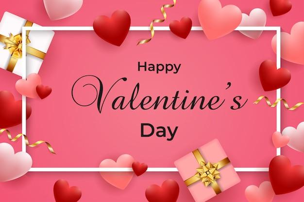 Szczęśliwych Walentynek Kartkę Z życzeniami Premium Wektorów