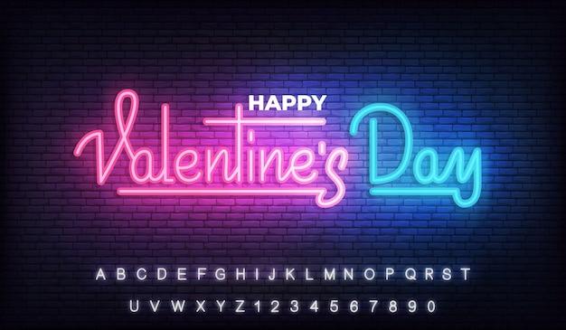Szczęśliwych Walentynek Neon, Walentynki świecące świecące Napis Znak Premium Wektorów