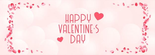 Szczęśliwych Walentynek Piękny Różowy I Biały Sztandar Darmowych Wektorów