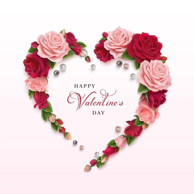 Szczęśliwych Walentynek Poziome Kartkę Z życzeniami Z Róż I Czerwonych Róż. Premium Wektorów