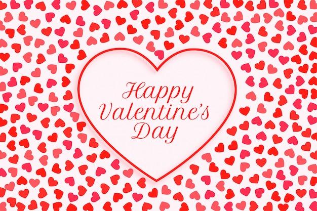 Szczęśliwych Walentynek Serca Ramki Kartkę Z życzeniami Darmowych Wektorów
