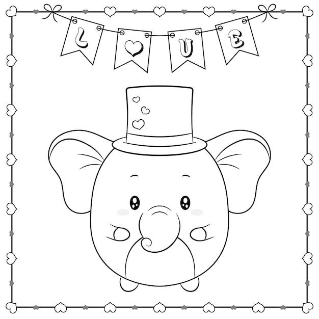 Szczęśliwych Walentynek Słodkie Zwierzę Słoniątko Rysunek Szkic Do Kolorowania Z Ramą Serca I Banerem Miłości Premium Wektorów