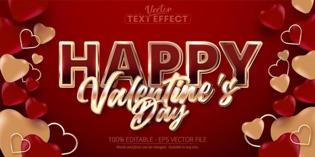 Szczęśliwych Walentynek Tekst, Błyszczący Efekt Edytowalnego Tekstu W Stylu Różowego Złota Na Czerwonym Tle Premium Wektorów