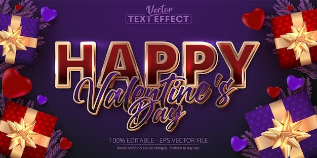 Szczęśliwych Walentynek Tekst, Błyszczący Efekt Edytowalnego Tekstu W Stylu Różowego Złota Na Fioletowym Tle Premium Wektorów