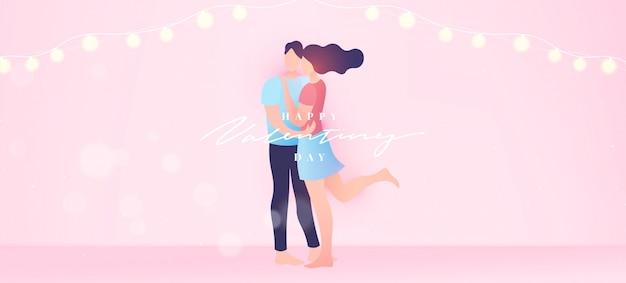 Szczęśliwych Walentynek Transparent Tło W Minimalistycznym Stylu Modnym. Premium Wektorów