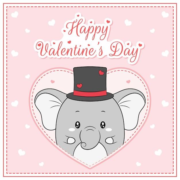 Szczęśliwych Walentynek Uroczy Chłopiec Słoń Rysunek Pocztówka Wielkie Serce Premium Wektorów