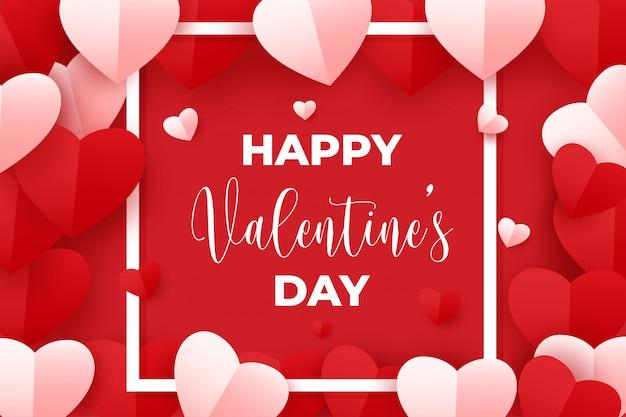Szczęśliwych Walentynek Z Czerwonym I Różowym Sercem Papieru Na Czerwono Premium Wektorów