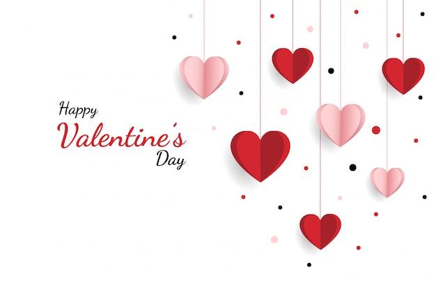 Szczęśliwych Walentynek. Z Twórczą Kompozycją Miłości Serc Premium Wektorów
