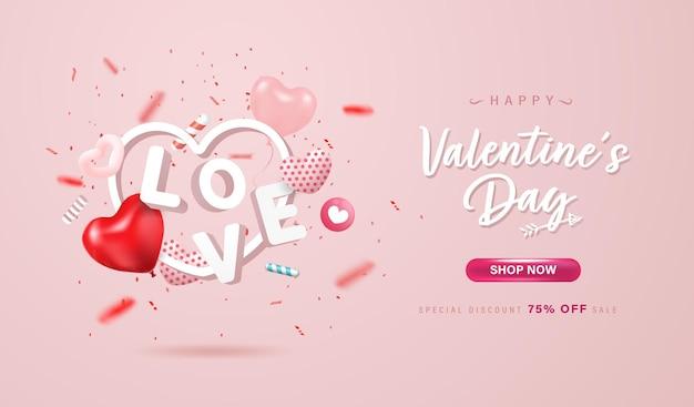 Szczęśliwych Walentynek Zakupy Online Banner Lub Projekt Tła. śliczne Serduszka, List Miłosny I Konfetti Na Pastelowym Różowym Tle. Premium Wektorów