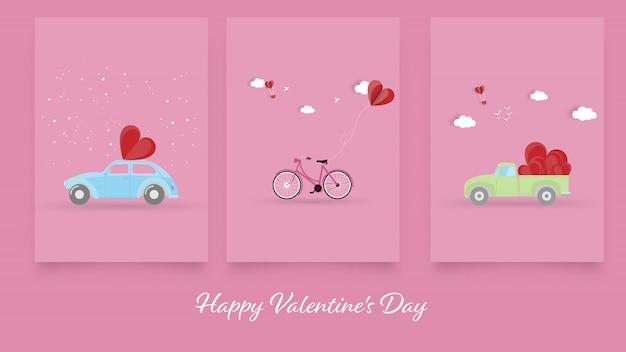 Szczęśliwych Walentynek, Zestaw Walentynki Kartkę Z życzeniami Tło Premium Wektorów