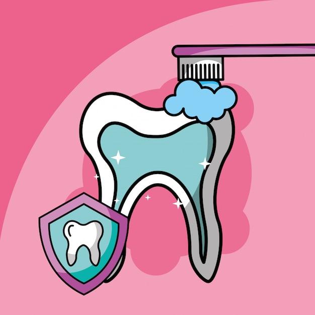 Szczotkowanie zębów symbol opieki stomatologicznej Premium Wektorów