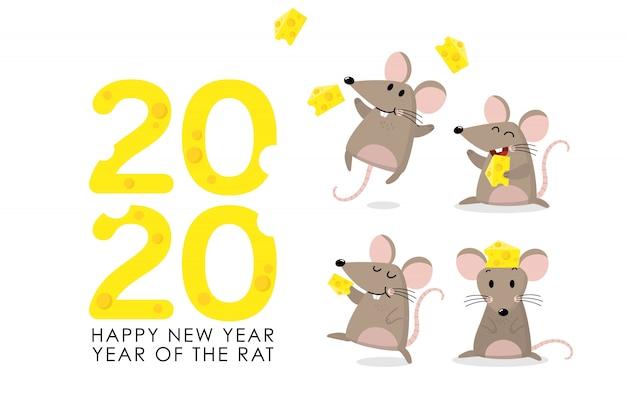 Szczur z pozdrowieniami z sera na 2020 rok Premium Wektorów