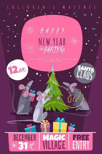 Szczur Zwierząt Symbol Nowy Rok Znaków Postacie Plakat Premium Wektorów
