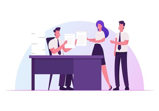 Szef Firmy Siedzący Przy Biurku I Delegujący Zadania Pracownikom Firmy. Premium Wektorów