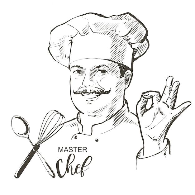 Szef kuchni gotować wektor linii szkicu rysowane ręcznie ilustracja Premium Wektorów