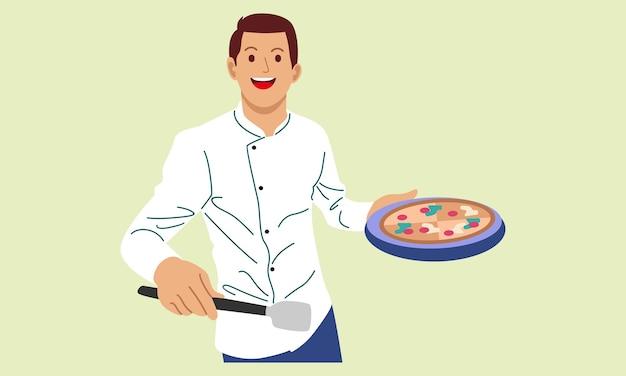 Szef Kuchni Gotuje I Trzyma Tacę Z Pizzą Premium Wektorów