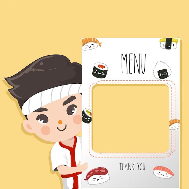 Szef kuchni japońskiej poleca Premium Wektorów