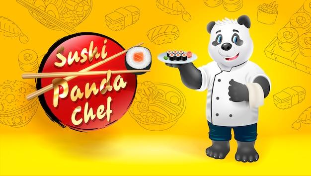 Szef Kuchni Sushi Panda. Ilustracja Clipart. Premium Wektorów