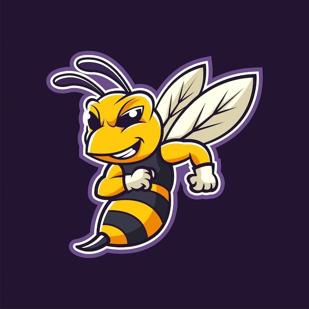 Szerszeń Pszczoły Maskotka Kreskówka Logo Ilustracja Premium Wektorów