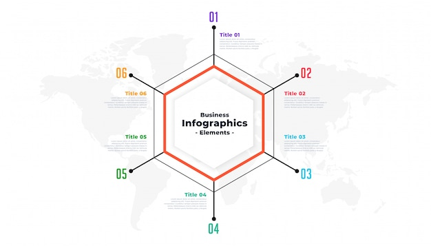 Sześć kroków cienka linia biznes infographic szablon prezentacji Darmowych Wektorów