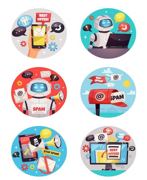 Sześć okrągłych ikon botów spamowych Darmowych Wektorów