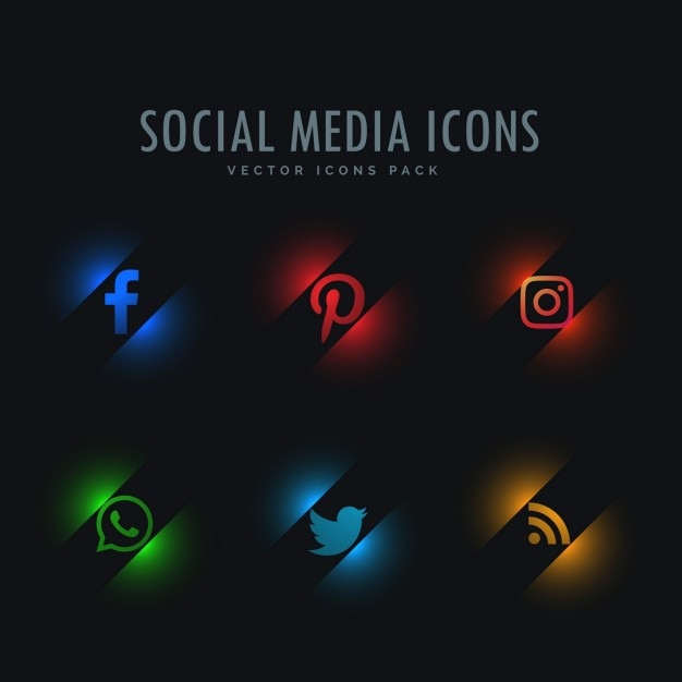 Sześć społeczne ikony mediów w stylu neon Darmowych Wektorów
