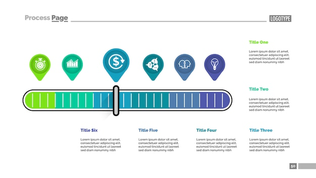 Sześć Wskaźników Skaluje Metaforę Szablon Wykresu Procesu Do Prezentacji. Darmowych Wektorów