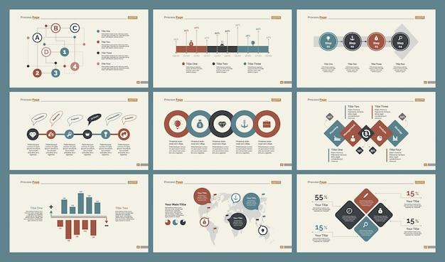 Sześć Wykresów Logistycznych Zestaw Szablonów Slajdów Darmowych Wektorów