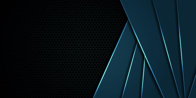 Sześciokątne granatowe tło z włókna węglowego z niebieskimi liniami i pasemkami. nowoczesna technologia tło. Premium Wektorów