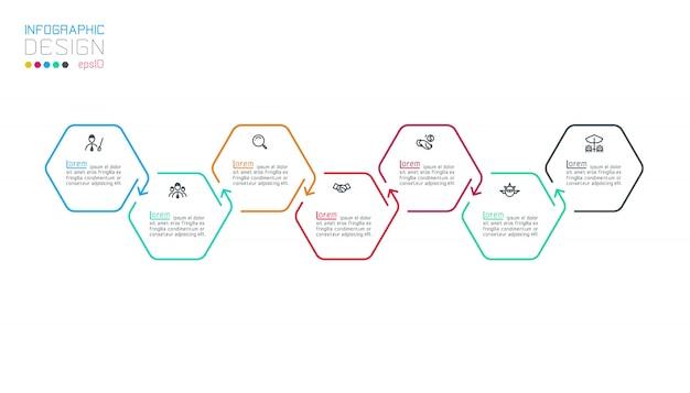 Sześciokątne infografje na wektorowej grafice. Premium Wektorów