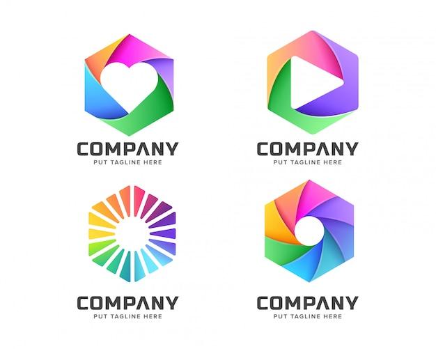 Sześciokątne logo dla firmy biznesowej Premium Wektorów
