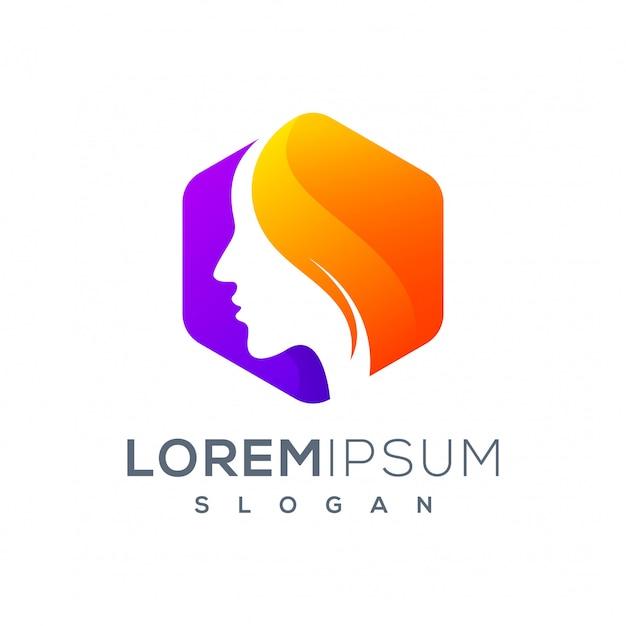 Sześciokątne logo kobiety gotowe do użycia Premium Wektorów