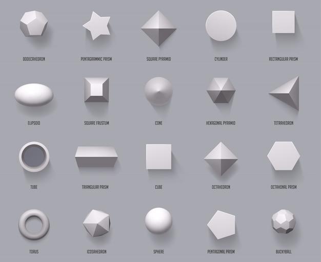 Sześciokątne Realistyczne Kształty. Podstawowe Kształty Geometryczne, Matematyczne Figury 3d Tworzą Sześcian, Cylinder I Pryzmat Kształty Zestaw Ilustracji Widoku Z Góry. Sfera I Piramida Geometrii, Forma I Sześcian Premium Wektorów