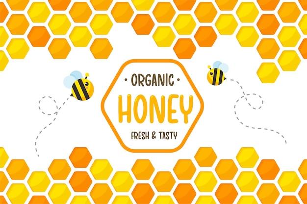 Sześciokątny Złoty żółty Plaster Miodu Wyciąć Tło Z Pszczołami Latającymi Wokół Ze Słodkim Miodem. Premium Wektorów