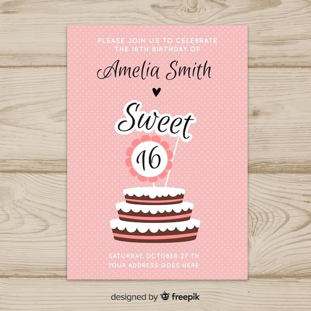 Szesnaście tort urodzinowy szablon zaproszenia Darmowych Wektorów