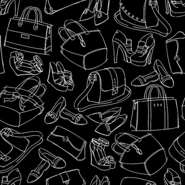 Szkic akcesoriów mody bezszwowej kobiety Darmowych Wektorów