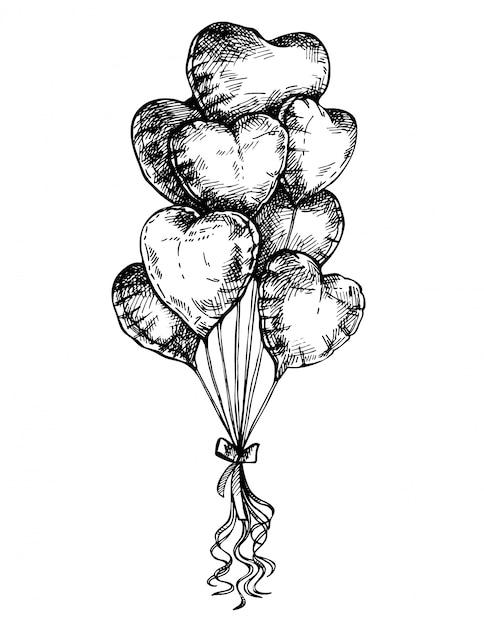 Szkic Balony W Kształcie Serca, Karta Walentynki. Ręcznie Rysowane Tuszem Valentine Plakat Premium Wektorów