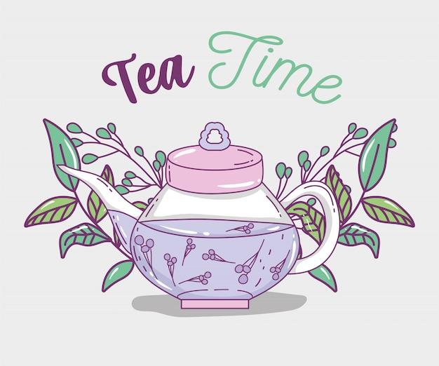 Szkic czasu na herbatę płaski Premium Wektorów