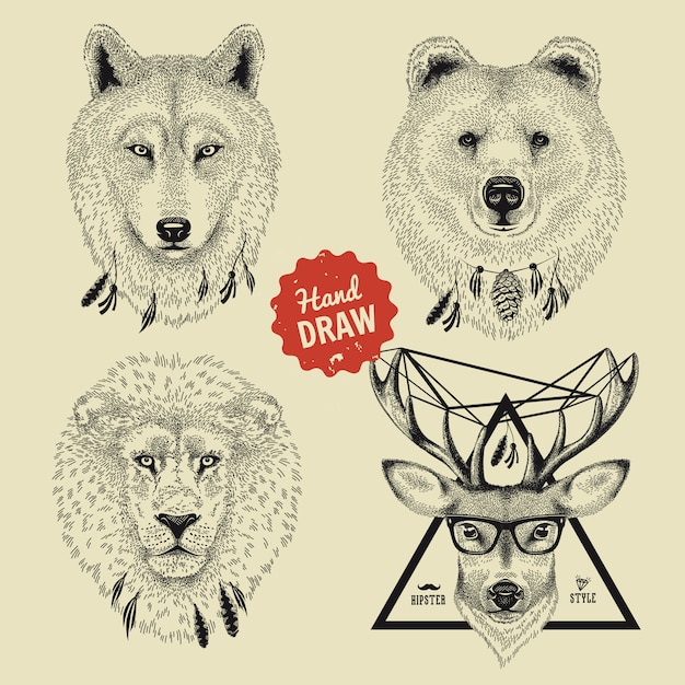 Szkic Głowy Niedźwiedzia Dzikiego Zwierzęcia, Wilka, Lwa, Jelenia W Stylu Hipster Premium Wektorów
