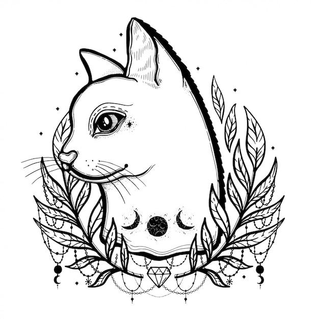 Szkic Graficzny Kot Ilustracja Z Mistycznymi I Okultystycznymi Ręcznie Rysowane Symbole. Premium Wektorów