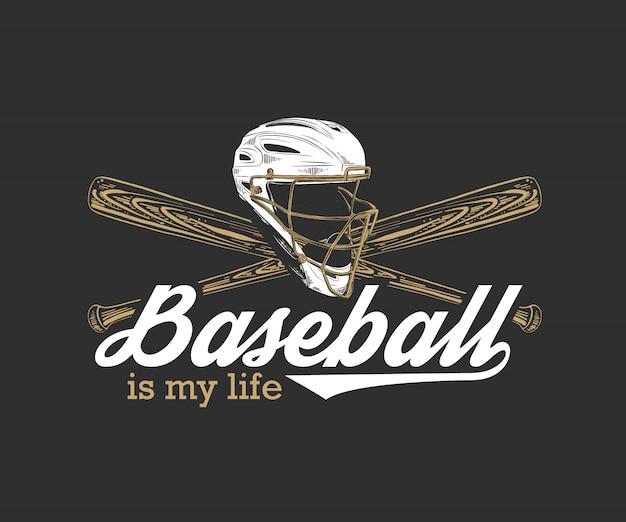 Szkic Hełm Baseballowy I Nietoperz Z Motywacją Premium Wektorów