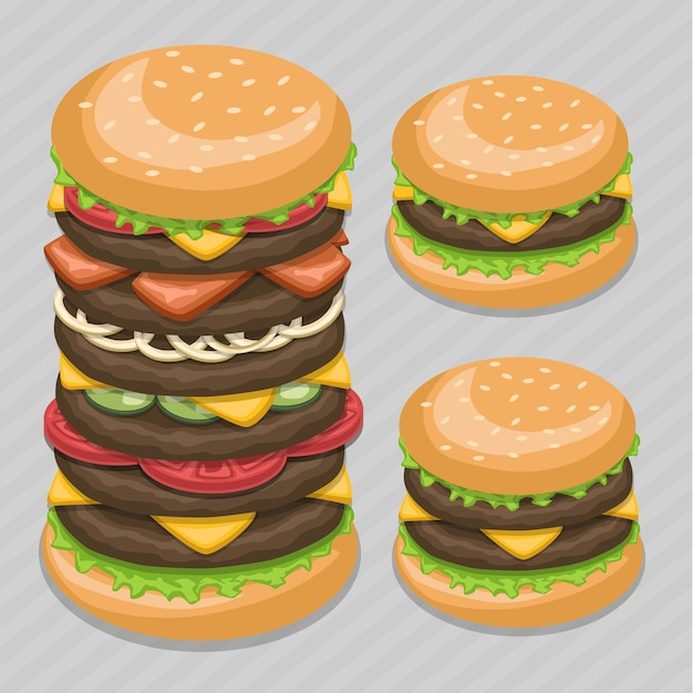 Szkic Ilustracji Big Burger Fast Food. Premium Wektorów