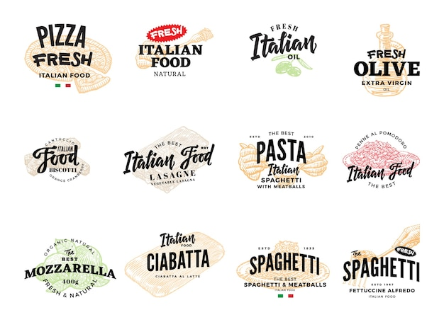 Szkic Kolekcji Włoskich Logotypów żywności Darmowych Wektorów