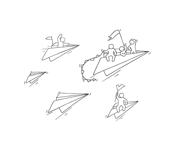 Szkic Latającego Papierowego Samolotu Z Małymi Pracownikami. Doodle Urocza Miniatura O Przywództwie I Odkrywaniu. Ręcznie Rysowane Ilustracja Kreskówka Dla Biznesu I Edukacji Premium Wektorów