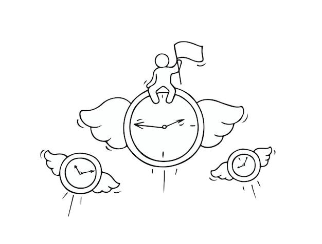 Szkic Latających Zegarów Z Małym Pracownikiem. Doodle Słodka Miniatura O Przywództwie I Terminie. Ręcznie Rysowane Ilustracja Kreskówka Wektor Dla Projektu Biznesowego. Premium Wektorów