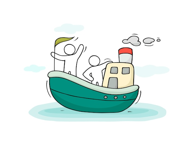 Szkic Małych Ludzi Pływają łodzią. Premium Wektorów