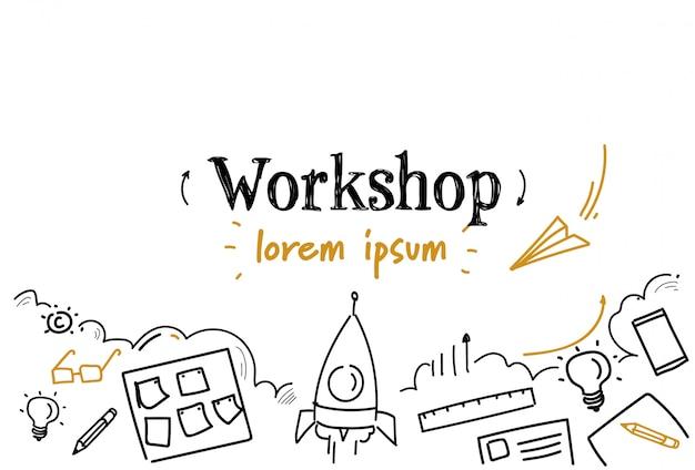 Szkic Rozwoju Biznesu Warsztat Doodle Na Białym Tle Miejsce Premium Wektorów