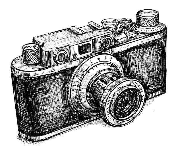 Szkic Rysowania Ręcznego Aparatu Vintage Premium Wektorów